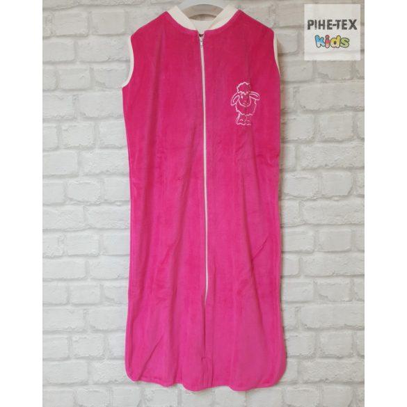 Ujjatlan, pink, plüss hálózsák, hímzett bari mintával 86-os méret