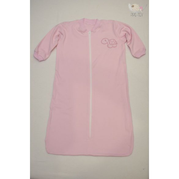 Rózsaszín, hosszú ujjú, zipzáros hálózsák, hímzett teknős mintával 86-os méret