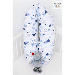 Kék pöttyös szívecskék,pihe-puha szopipárna  (518/K)