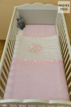 """Hamvas-rózsaszín, """"hímzett alvós maci"""" 2 részes babaágynemű szett (99)"""