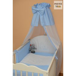 Kék fehér pöttyös, hímzett cumis maci mintás 4 részes babaágynemű szett