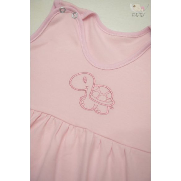 Rózsaszín, ujjatlan, patentos hálózsák, hímzett teknős mintával 80-as méret