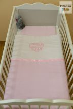 """Hamvas-rózsaszín, """"hímzett cicás"""" 2 részes babaágynemű szett (99)"""