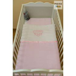 """Rózsaszín, """"hímzett cicás"""" 2 részes babaágynemű szett (99)"""
