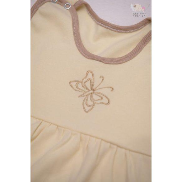 Vaj, ujjatlan, patentos hálózsák, hímzett pillangó mintával 80-as méret