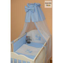 Kék fehér pöttyös, hímzett vizilovas mintás 4 részes babaágynemű szett
