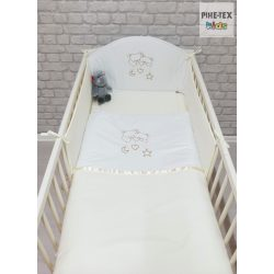 Vaníliaszín, hímzett függős macik 3 részes babaágynemű szett (98)