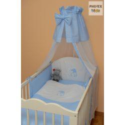 Kék fehér pöttyös, hímzett sapkás maci mintás 4 részes babaágynemű szett