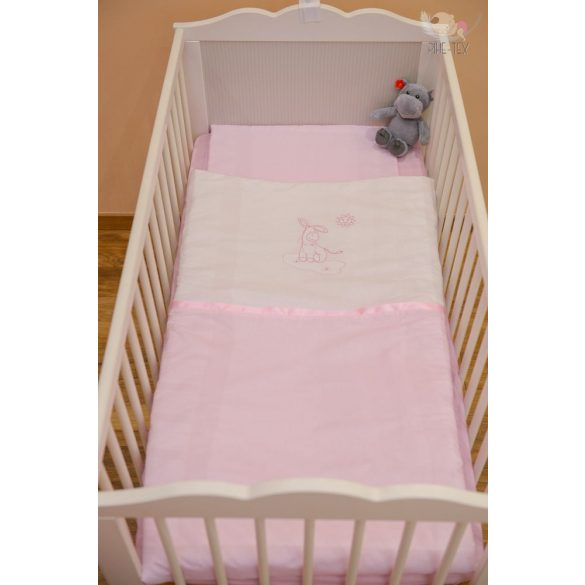 """Rózsaszín, hímzett """"csacsis"""" babaágynemű szett (100)"""
