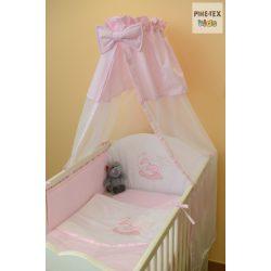 Rózsaszín, hímzett alvós baba 4 részes babaágynemű szett (99)