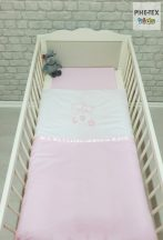 """Hamvas-rózsaszín, """"hímzett függős macik"""" 2 részes babaágynemű szett (99)"""