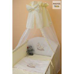 Vaníliaszín, hímzett alvós baba 4 részes babaágynemű szett (98)