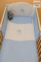 Babakék színű pöttyös hímzett sapkás maci 3 részes babaágynemű garnitúra