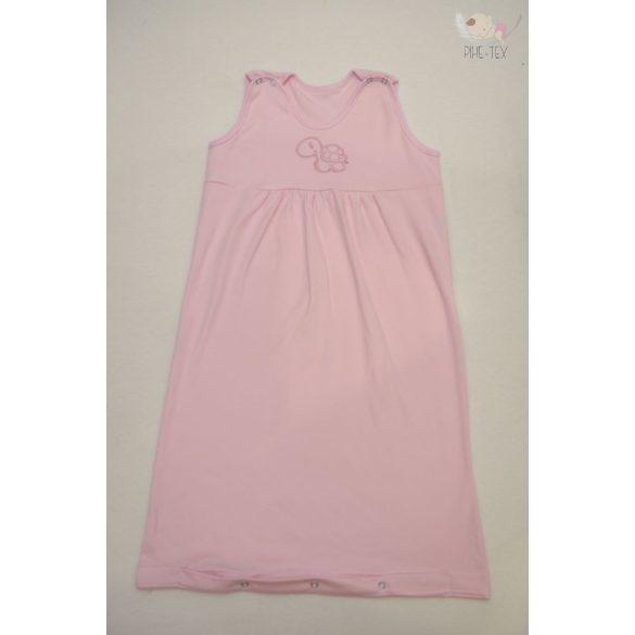 Rózsaszín, ujjatlan, patentos hálózsák, hímzett teknős mintával 74-es méret