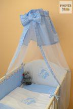 Kék fehér pöttyös, alvós cumis maci mintás 4 részes babaágynemű szett