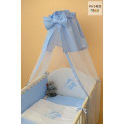 Kék fehér pöttyös, alvós  maci mintás 4 részes babaágynemű szett