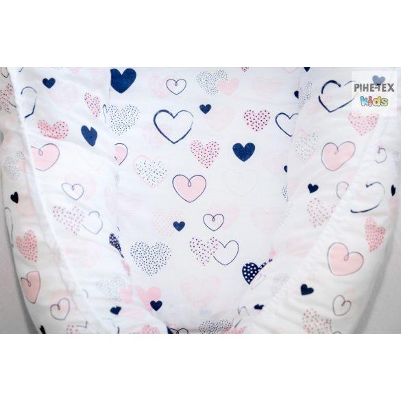 Rózsaszín pöttyös szívecskék, babafészek (518/R)