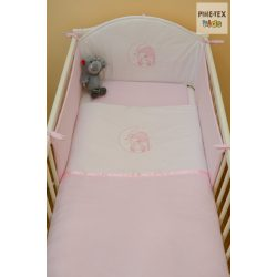 Rózsaszín, sapkás maci 3 részes babaágynemű szett (99)