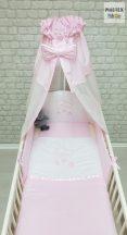 Rózsaszín, hímzett függős macik 4 részes babaágynemű szett (99)