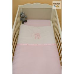 """Rózsaszín, """"hímzett sapkás maci"""" 2 részes babaágynemű szett (99)"""