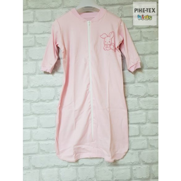 Rózsaszín, hosszú ujjú, zipzáros hálózsák, hímzett nyuszi mintával 80-as méret