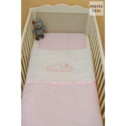 """Rózsaszín, """"hímzett fekvős macis"""" 2 részes babaágynemű szett (99)"""