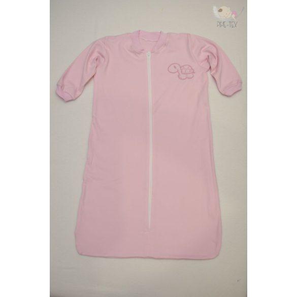 Rózsaszín, hosszú ujjú, zipzáros hálózsák, hímzett teknős mintával 92-es méret