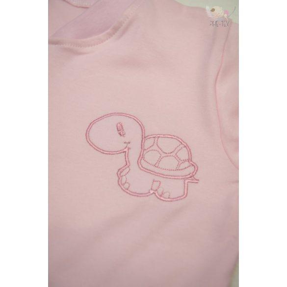 Rózsaszín, hosszú ujjú, zipzáros hálózsák, hímzett teknős mintával 80-as méret