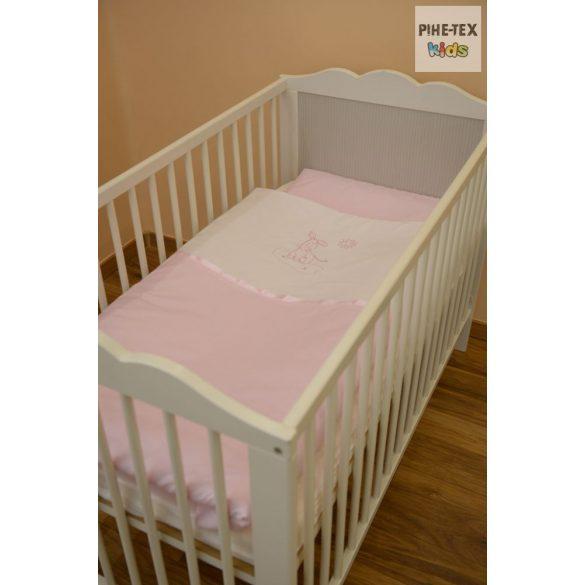 """Rózsaszín, """"hímzett csacsis"""" 2 részes babaágynemű szett (99)"""
