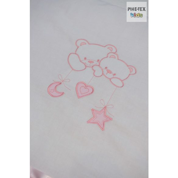 Rózsaszín, hímzett 4 részes babaágynemű szett, választható mintával (99)