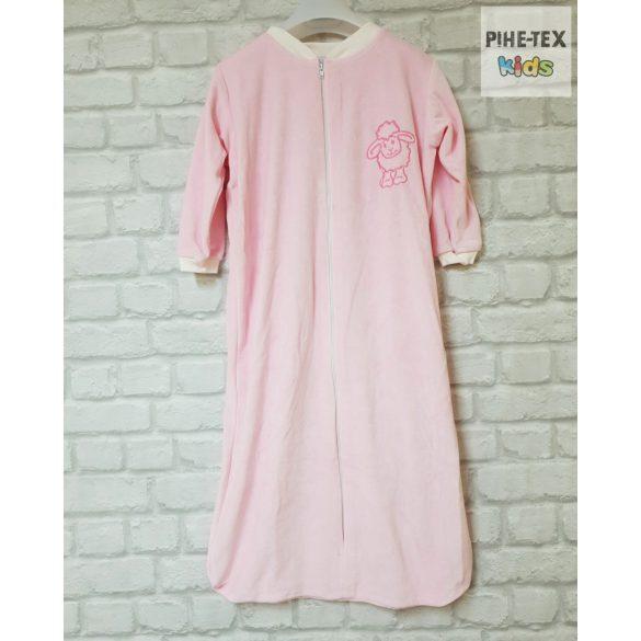 Hosszú ujjú, rózsaszín, plüss hálózsák, hímzett bari mintával 98-as méret