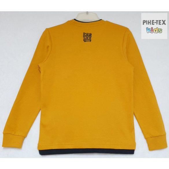 iDO fiú, mustár sárga, hosszú ujjú felső, nyomott mintával (K748/00-1536)