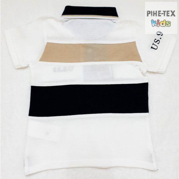 iDO fiú, fehér-sötétkék, rövid ujjú póló, hímzett felirattal (J233/00-0113)