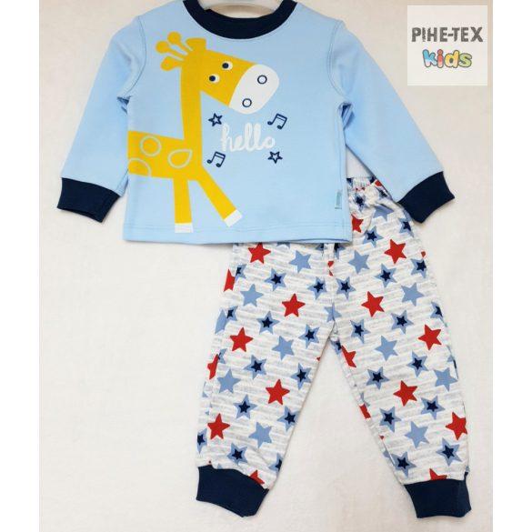 Bembi 2 részes fiú pizsama szett, kék, zsiráf mintával (PG40)