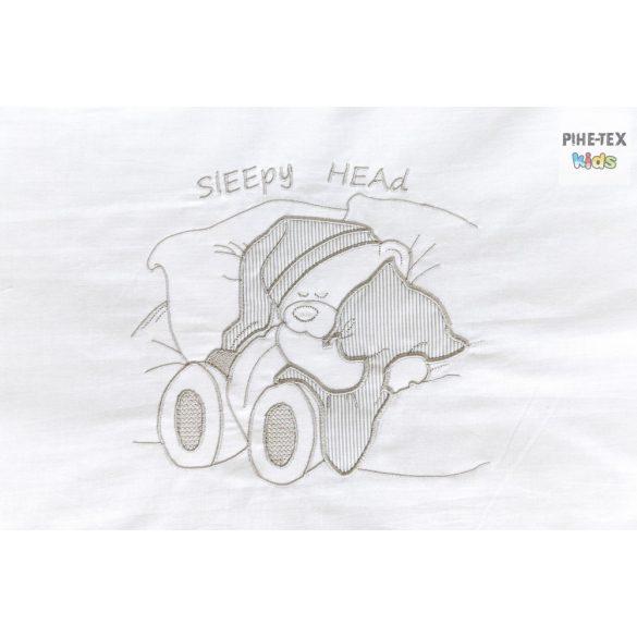 Szürke csíkos alvós maci mintás, 4 részes babaágynemű szett (113/Sz)
