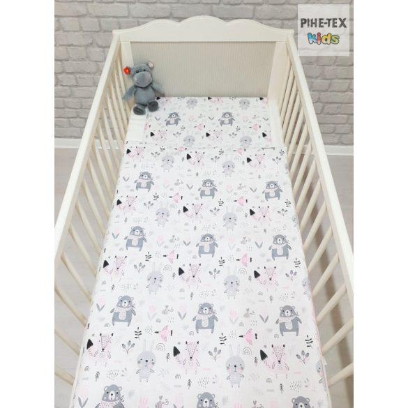 Erdő lakók, rózsaszín pöttyös babaágynemű huzat (584/R/2)