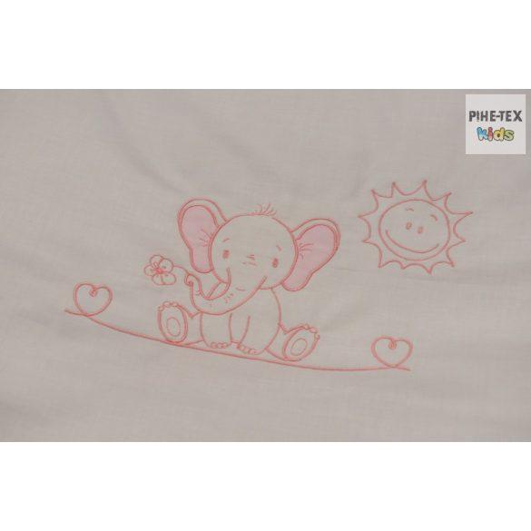 """Rózsaszín, """"hímzett elefántos"""" 2 részes babaágynemű szett (99)"""
