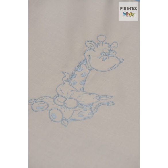 Kék fehér pöttyös, hímzett ölelős zsiráf mintás 4 részes babaágynemű szett