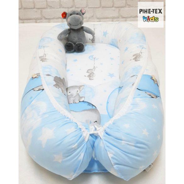 Bébi elefánt, kék 6 részes babaágynemű szett (582/K) (4 részes, zsebes tároló, babafészek)