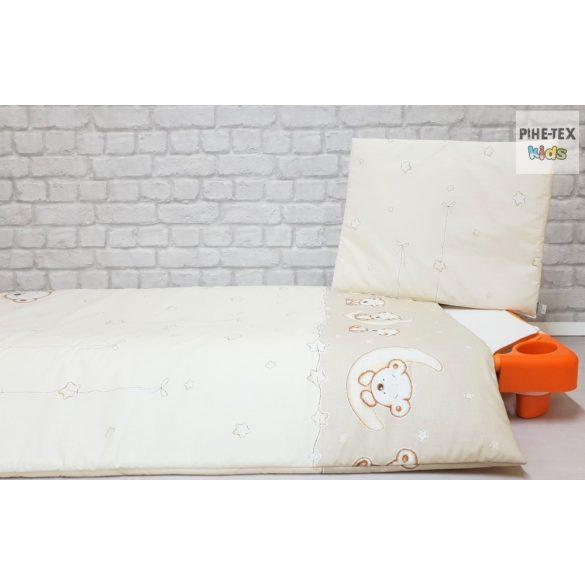 Holdon Ülő Macik bézs, ovis ágynemű szett 90x140cm (562/B) (ovis huzat, 2 részes fehér)
