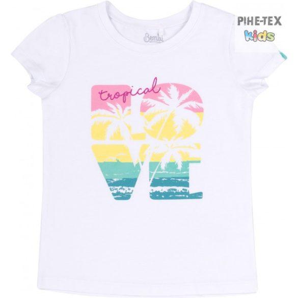 Bembi fehér, nyári kislány póló, tropical felirattal (FB718)