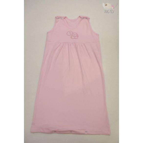 Rózsaszín, ujjatlan, patentos hálózsák, hímzett teknős mintával 68-os méret