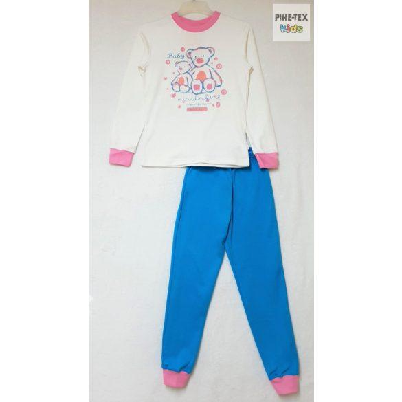 Bembi 2 részes lány pizsama szett, türkizkék-fehér-rózsaszín, maci mintával (PG39)