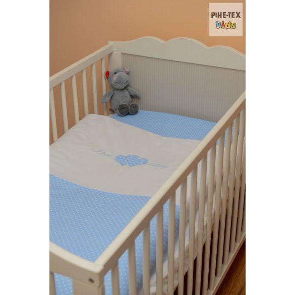 Kék pöttyös, hímzett I love baby felirattal, szivecskével, 2 részes babaágynemű szett (114/K)