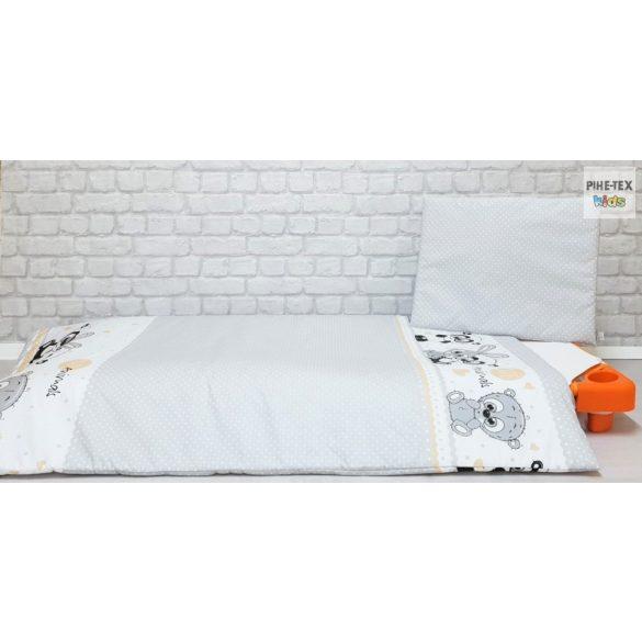Cuki Állatok szürke, ovis ágynemű szett 90x140cm (576/Sz) (ovis huzat, 2 részes fehér)