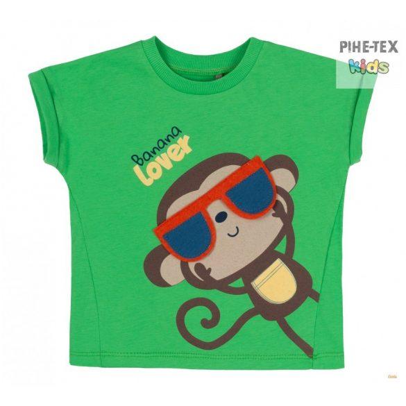 Bembi 2 részes fiú szett, sötétkék-zöld, majom nyomott mintával, rövidnadrággal (KS627)