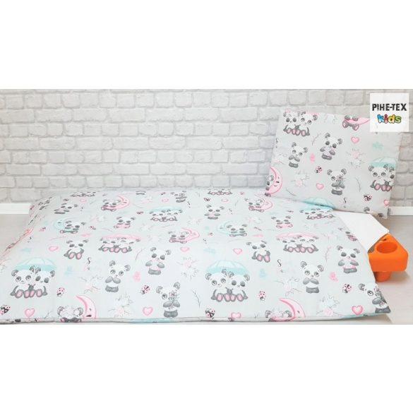 Sweet Panda, szürke, 4 részes ovis kezdőcsomag (2 részes mintás, ovis zsák, tornazsák, vízhatlan matracvédő lepedő) + ajándék ovis törölköző