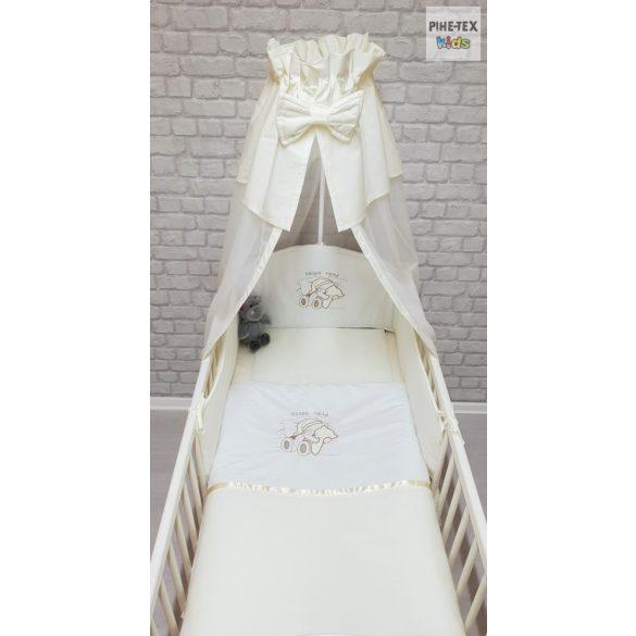Vaníliaszín, hímzett alvós maci 4 részes babaágynemű szett (98)