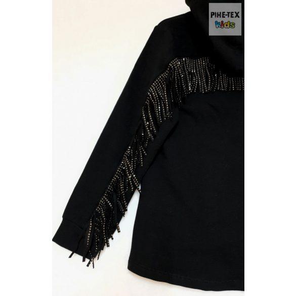 iDO lány, fekete, rojtos pulóver (K935/00-0658)