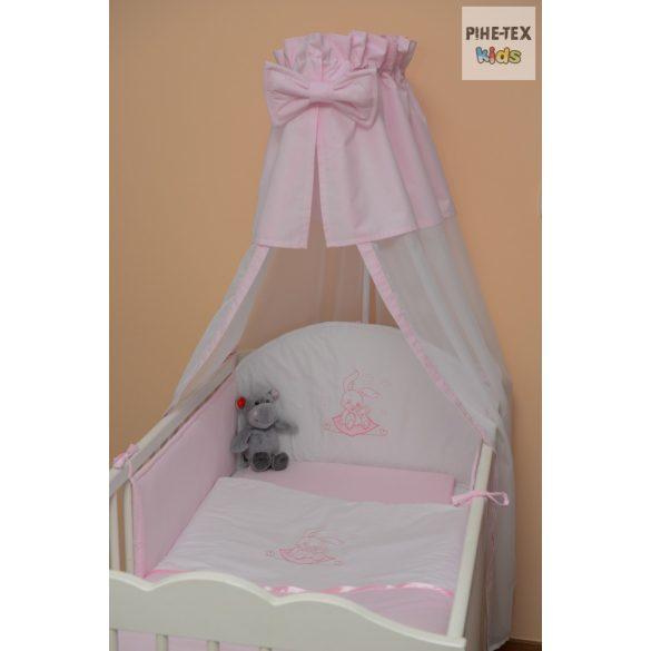 Rózsaszín, hímzett nyuszis 4 részes babaágynemű szett (99)
